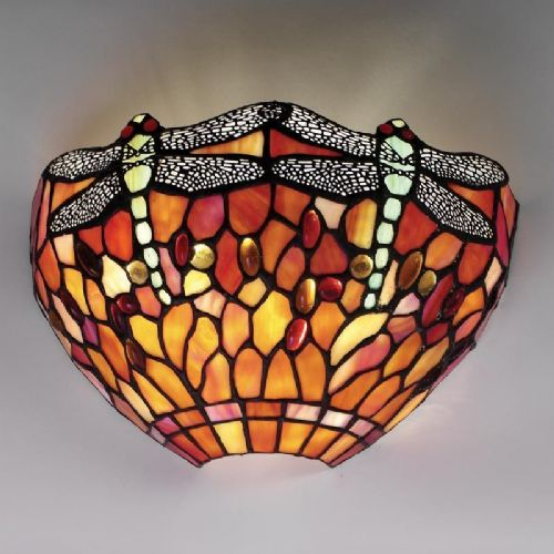Dragonfly Flame Wall Light (Nature, Tiffany Studio, Traditional, Wall Lamp) T077W (Tiffany style)
